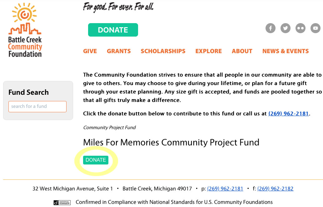 Mile For Memories Donate Page 1